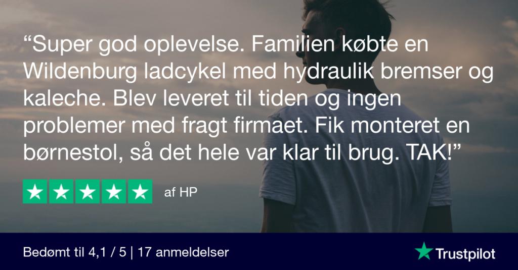 Trustpilot-anmeldelse af El-ladcykler.dk af HP